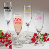 Personalized Champagne Flute Favors: Greek Designs
