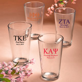 Personalized Pint Glass Favors: Greek Designs