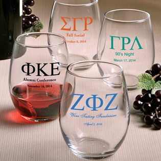Stemless Wine Glass Favors - 9 Ounce: Greek Designs
