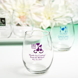 Stemless Wine Glass Favors - 9 Ounce with Exclusive Designs