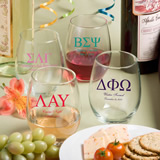 Stemless Wine Glasses - 15 Ounce: Greek Designs