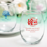 Stemless Wine Glasses 15 Ounce with Exclusive Designs