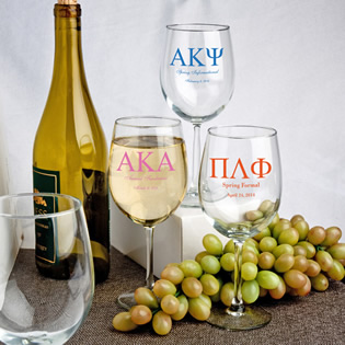 Personalized 12 Oz. Wine Goblet Favors: Greek Designs