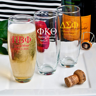 Silkscreened Glassware Collection Stemless Greek Design Champagne Flutes