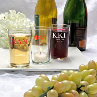 Silkscreened Glassware Collection Bistro Glasses: Greek Designs