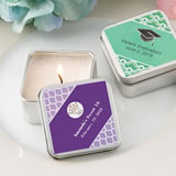 Personalized expressions square silver metal travel candle tin