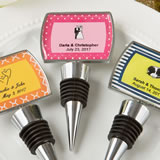 Personalized epoxy dome chrome metal finish bottle stopper