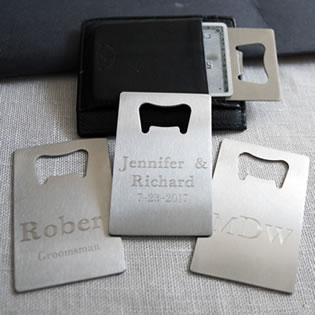 Engraved Stainless Steel Credit Card  bottle opener