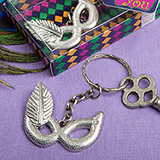 Mardi Gras mask silver metal key chain