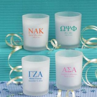 Personalized Votive Candle Favors: Greek Designs