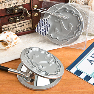 Round Compact Mirror With Anchor Design From Fashioncraft