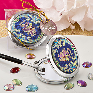 Indian elephant themed metal  compact mirror