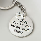 'I love you to the moon and back' silver metal key chain