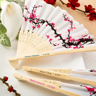 Personalized Delicate Cherry Blossom Design Silk Folding Fan