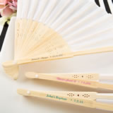 Personalized white silk folding fan from fashioncraft