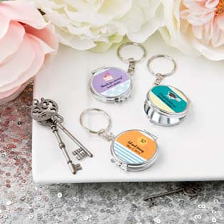 Personalized Expressions collections silver metal compact mirror key chain