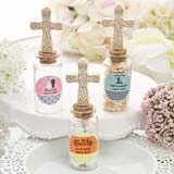 Personalized expressions collection Candy Jar with Ivory Cross decoration