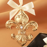 Fleur De Lis design shiny gold ornament from fashioncraft