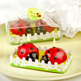 Ladybug shaped wax candles..