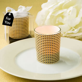 Modern graphic design Glass candle votive holder in gold