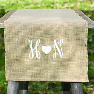 Embroidered Burlap Table Runner