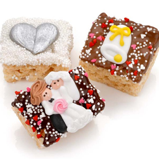 Wedding Chocolate Dipped Mini Crispy Rice Bars- Individually Wrapped