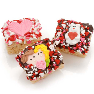 Romantic Chocolate Dipped Mini Crispy Rice Bars- Individually Wrapped