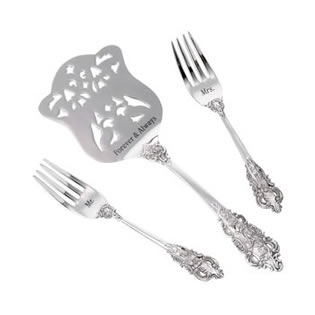 Lillian Rose Mr. and Mrs. Silver Server & Two Forks Set