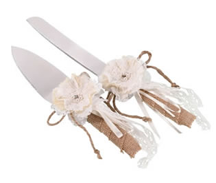 Lillian Rose Rustic Burlap and Lace Knife & Server Set