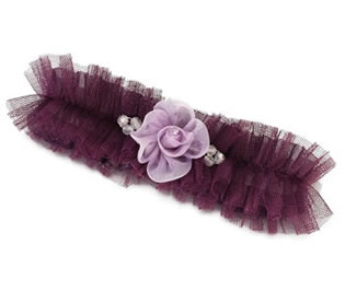 Lillian Rose Plum Tulle Garter with Flower