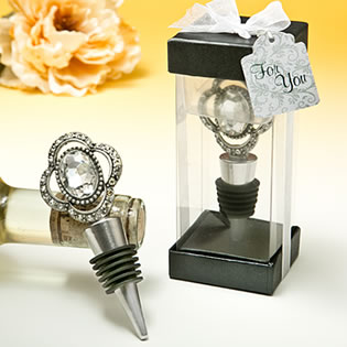 Bejeweled vintage broach bottle stopper from the  Premier Favor Collection