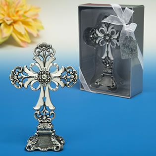 Antique Pewter finished Cross statue from the  Premier Favor Collection
