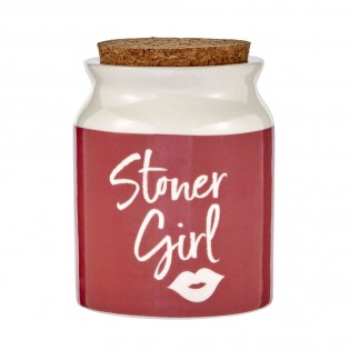 stoner girl stash jar - pink with white letters