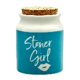 stoner girl stash jar - blue with white letters