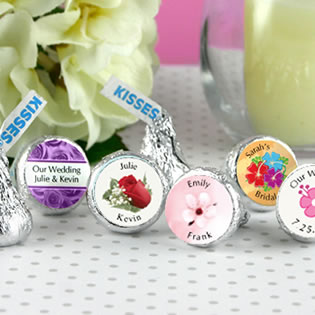 Flower / Spring Theme Hersheys Kiss Wedding Favors (15 designs available)