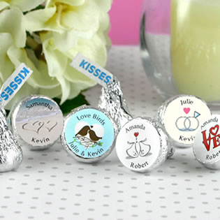 Heart Theme Hersheys Kiss Wedding Favors (5 designs available)