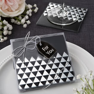 Geometric design set of 2 glass coasters from fashioncraft