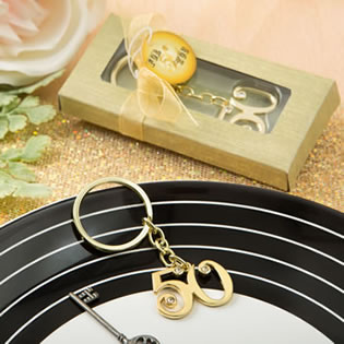 50th design gold metal key chain from fashioncraft