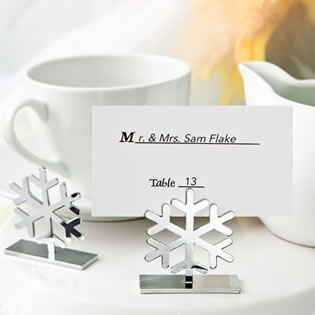 Snow flake design placecard / photo holders from fashioncraft