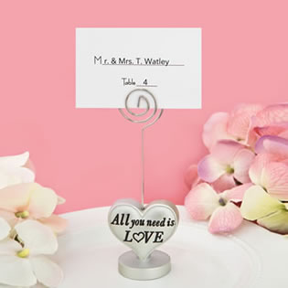 'All you need is love' heart design placecard holder / photo holder
