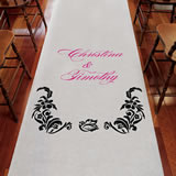 Love Bird Damask Personalized Aisle Runner