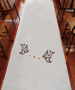 Birds with Love Pennant Personalized Aisle Runner