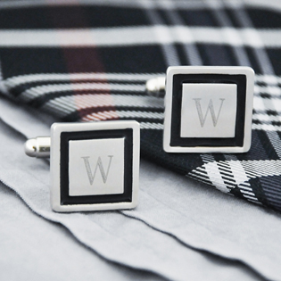 Black Border Designer Cuff Links