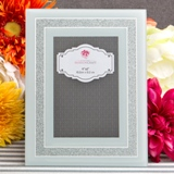 White and silver mirror beveled glass frame 4 x 6