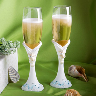 Finishing Touches Collection - Beach Themed Champagne Flutes (Set of Two)