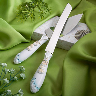 Finishing Touches Collection - Beach Themed Wedding Cake Knife and Server Set