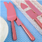 Simple elegance classic pink rose stainless steel cake knife set