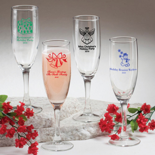 Holiday Themed Champagne Flute - Personalized