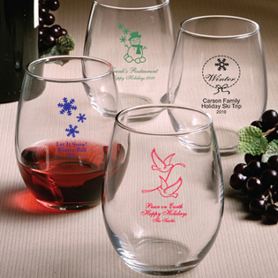 Holiday Themed Stemless Wine Glass - 9 Ounce