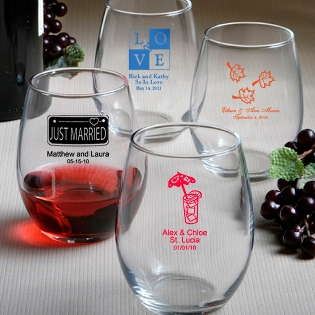 Stemless Wine Glass Favors - 9 Ounce